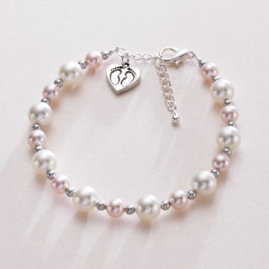 Footprints on your Heart Pearl Bracelet | Someone Remembered
